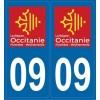 2 stickers régions département 09