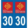Autocollants immatriculation Gard 30
