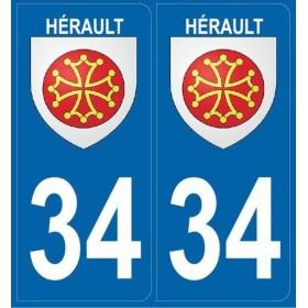 Autocollants immatriculation Blason Hérault