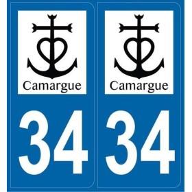 Autocollants immatriculation 34 Camargue