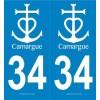 Autocollants de Plaques, Blason Camargue