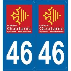 Autocollants immatriculation 46 (Lot)