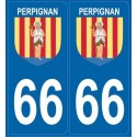 2 stickers city 66 Perpignan