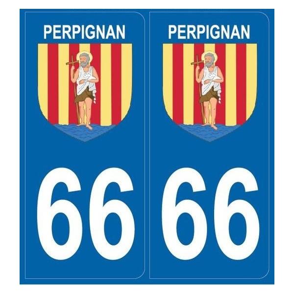 2 stickers city 66 Perpignan