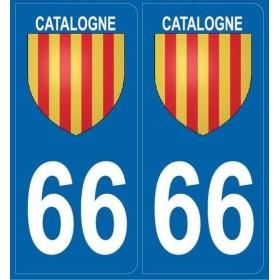 2 Stickers immatriculation (66) Catalogne