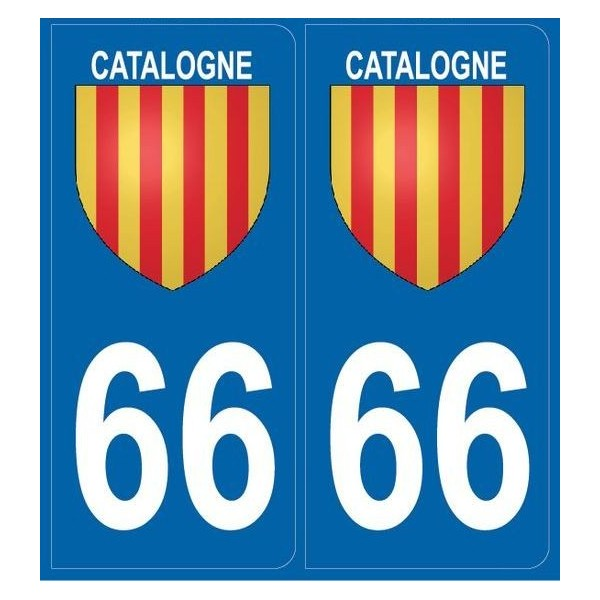 2 Stickers immatriculation (66) Catalogne