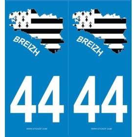 Autocollants plaques Bretagne 44