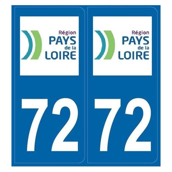 Autocollants plaques Sarthe (72)