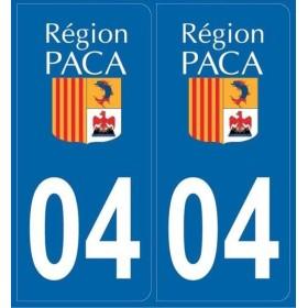 Autocollants immatriculation Dept. 04