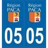 2 stickers régions département 05