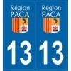 2 stickers régions département 13