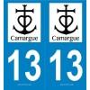 2 stickers régions 13 Camargue Noir