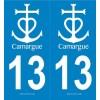 2 stickers régions 13 Camargue Blanc