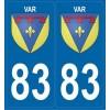2 stickers régions 83 Var