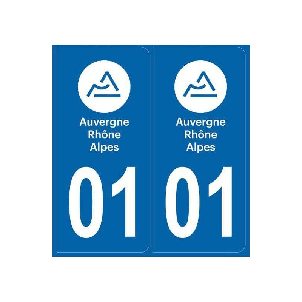 Autocollants immatriculation Dept. Ain 01