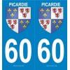 Autocollants Plaques Blason Picardie