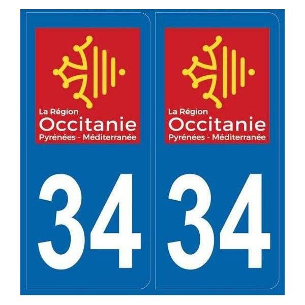 Autocollants immatriculation Hérault (34)