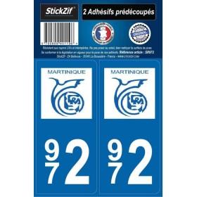 Autocollants immatriculation Martinique 972