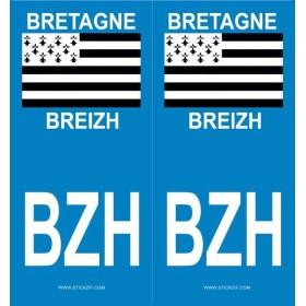 Stickers de plaque BZH Bretagne/Breizh