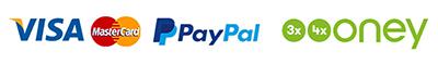 Paiement par Visa, Mastercard, 3X CB, PayPal, Virement bancaire